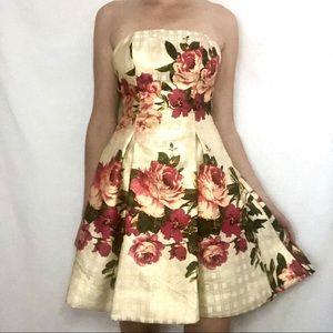Nicole Miller Strapless Gold & Pink Cocktail Dress